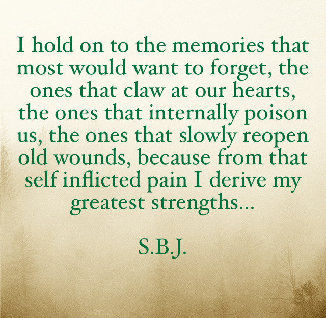I hold on to the memories that most would want to forget, the ones that claw at our hearts, the ones that internally poison us, the ones that slowly reopen old wounds, because from that self inflicted pain I derive my greatest strengths... S.B.J.