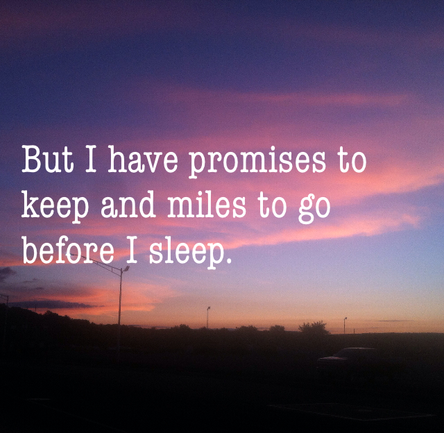 But I have promises to keep and miles to go before I sleep.