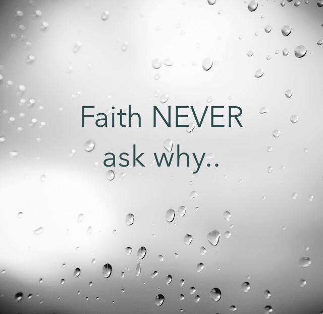 Faith NEVER  ask why..