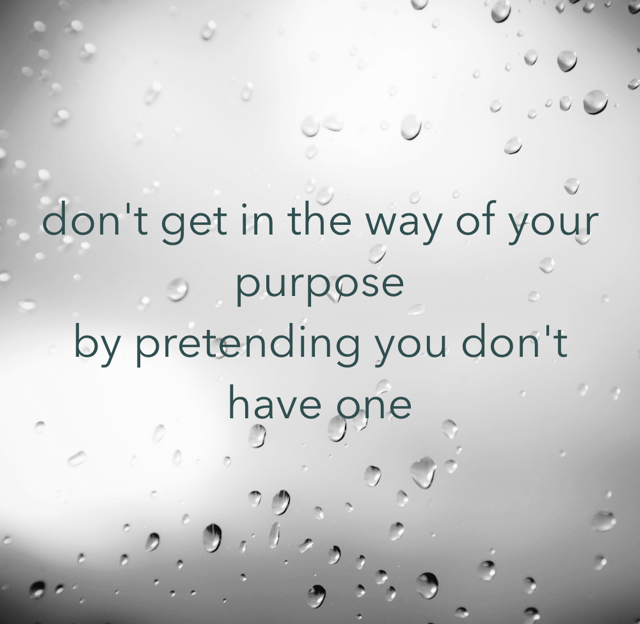 don't get in the way of your purpose by pretending you don't have one