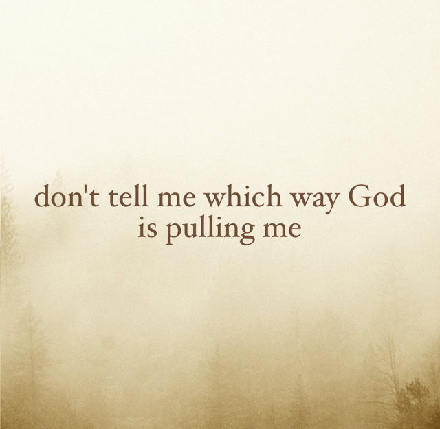 don't tell me which way God is pulling me