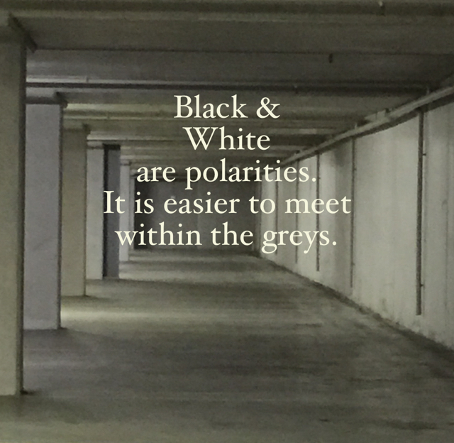 Black & White are polarities. It is easier to meet within the greys.