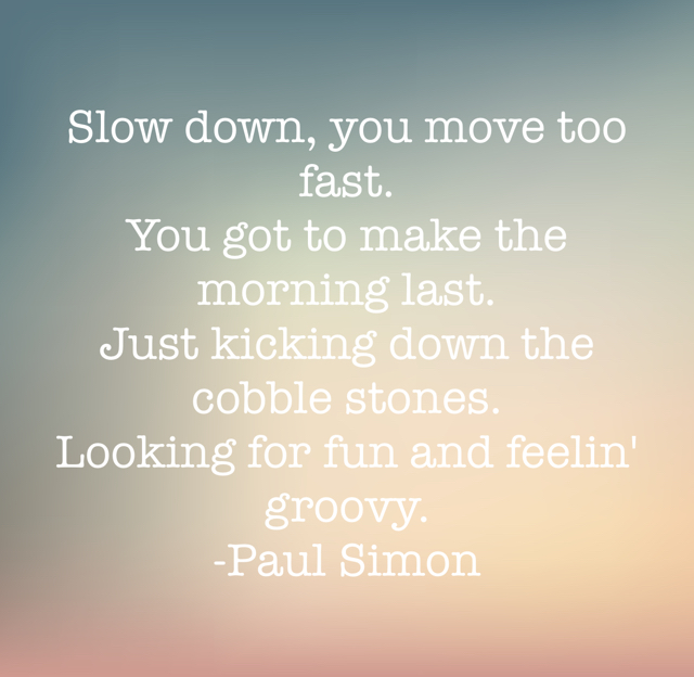 Slow down, you move too fast. You got to make the morning last. Just kicking down the cobble stones. Looking for fun and feelin' groovy. -Paul Simon