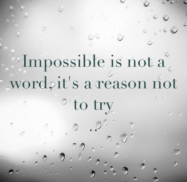 Impossible is not a word, it's a reason not to try ..