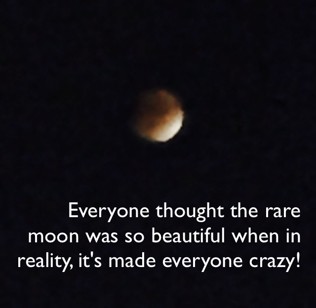Everyone thought the rare moon was so beautiful when in reality, it's made everyone crazy!