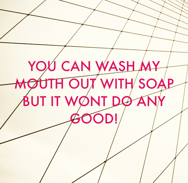 YOU CAN WASH MY MOUTH OUT WITH SOAP BUT IT WONT DO ANY GOOD!