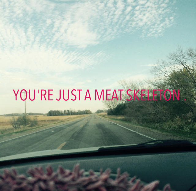 YOU'RE JUST A MEAT SKELETON .