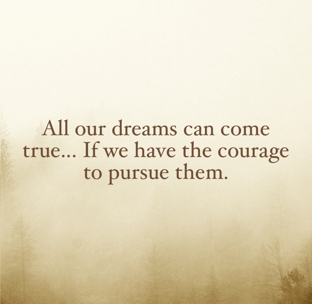 All our dreams can come true... If we have the courage to pursue them.