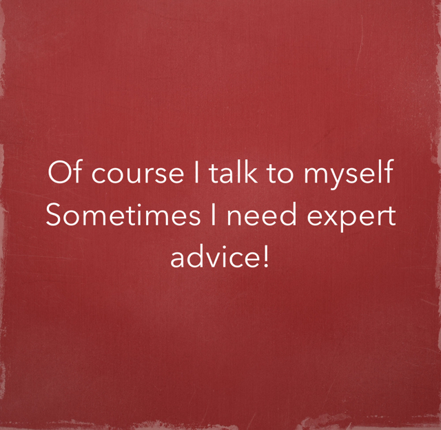 Of course I talk to myself  Sometimes I need expert advice!