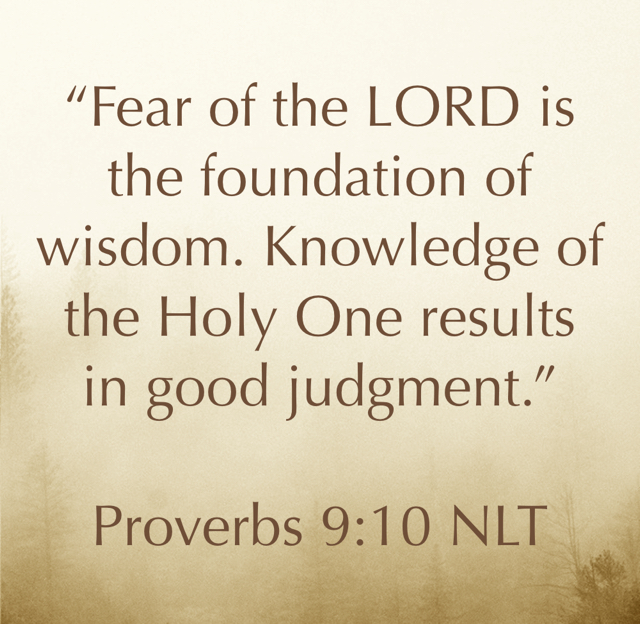 """Fear of the LORD is the foundation of wisdom. Knowledge of the Holy One results in good judgment."" ‭‭ Proverbs‬ ‭9:10‬ ‭NLT‬‬"