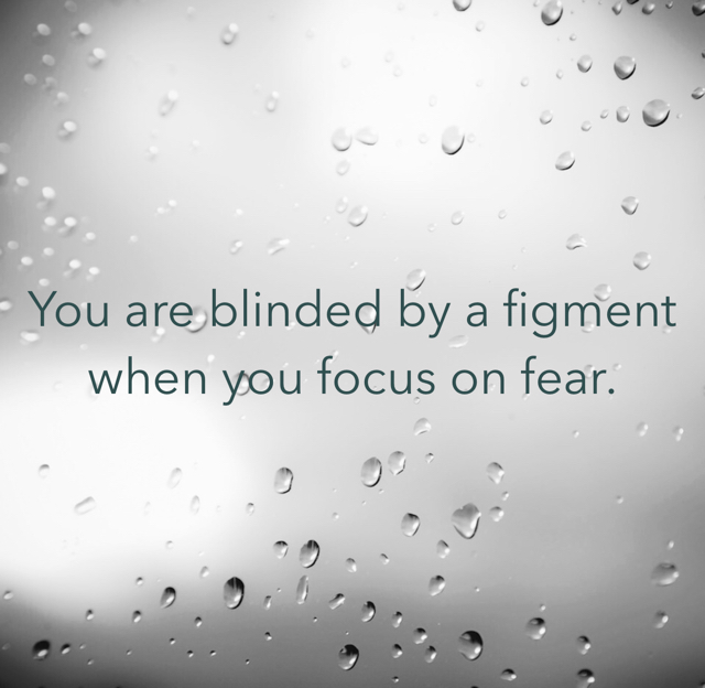 You are blinded by a figment when you focus on fear.