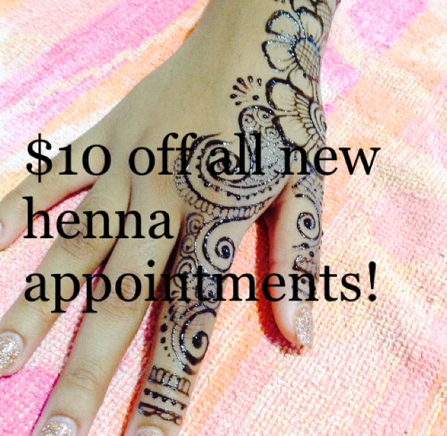 $10 off all new henna appointments!