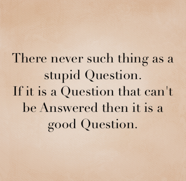 There never such thing as a stupid Question. If it is a Question that can't be Answered then it is a good Question.