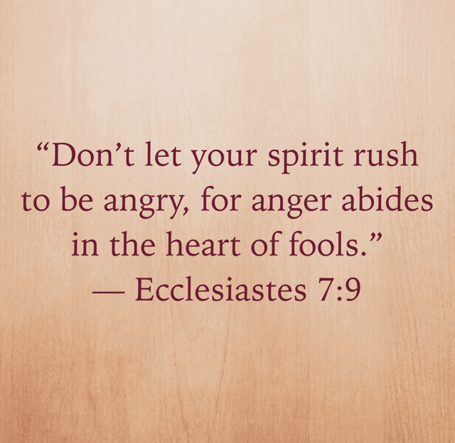 """Don't let your spirit rush to be angry, for anger abides in the heart of fools."" ‭‭— Ecclesiastes‬ ‭7:9‬"