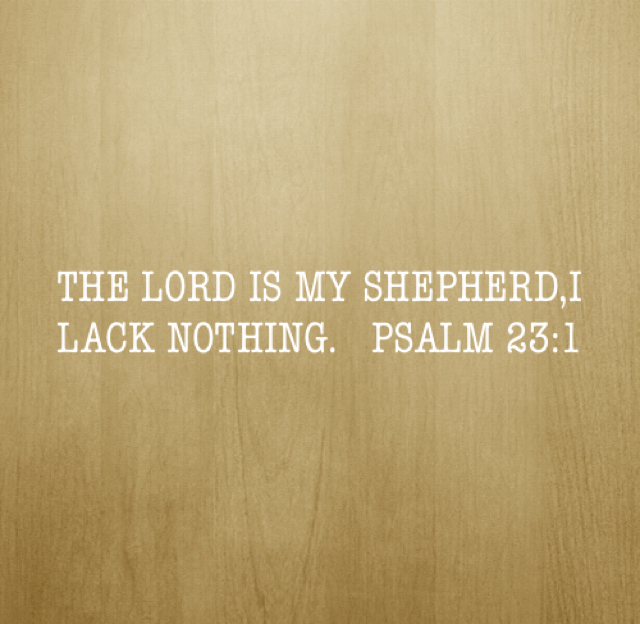 THE LORD IS MY SHEPHERD,I LACK NOTHING.   PSALM 23:1