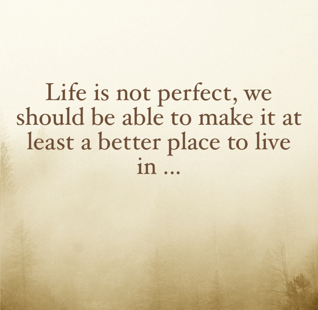 Life is not perfect, we should be able to make it at least a better place to live in ...