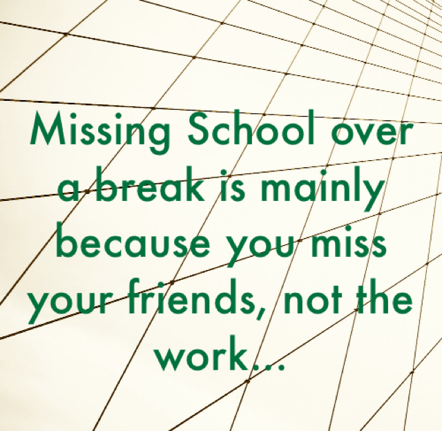 Missing School over a break is mainly because you miss your friends, not the work...