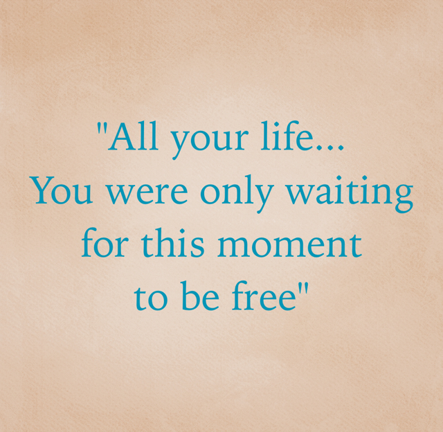 """""""All your life... You were only waiting for this moment  to be free"""""""