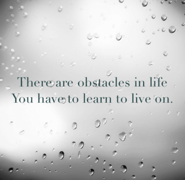 There are obstacles in life  You have to learn to live on.