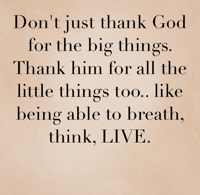 Don't just thank God for the big things. Thank him for all the little things too.. like being able to breath, think, LIVE.