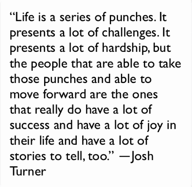 """Life is a series of punches. It presents a lot of challenges. It presents a lot of hardship, but the people that are able to take those punches and able to move forward are the ones that really do have a lot of success and have a lot of joy in their life and have a lot of stories to tell, too."" ―Josh Turner"