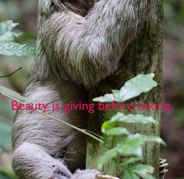Beauty is giving before taking.
