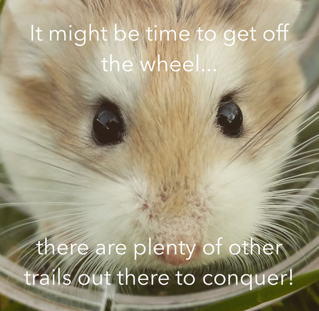 It might be time to get off the wheel... there are plenty of other trails out there to conquer!
