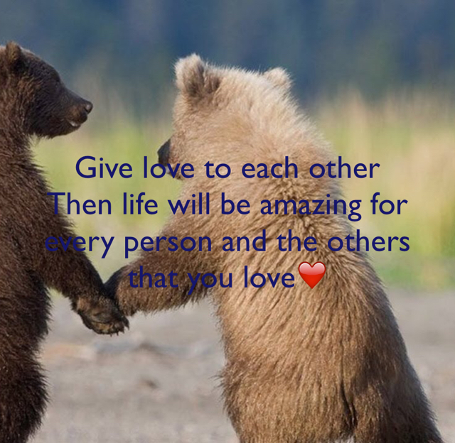 Give love to each other Then life will be amazing for every person and the others that you love❤️