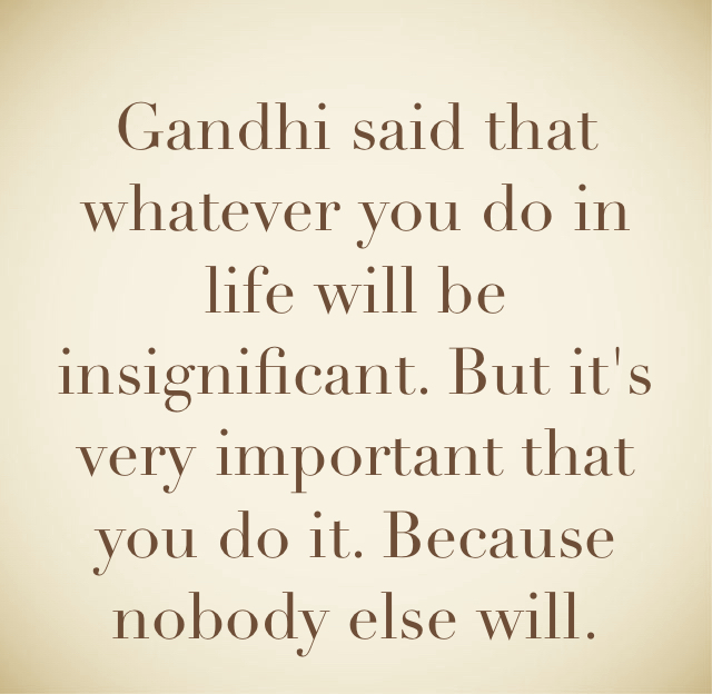 Gandhi said that whatever you do in life will be insignificant. But it's very important that you do it. Because nobody else will.