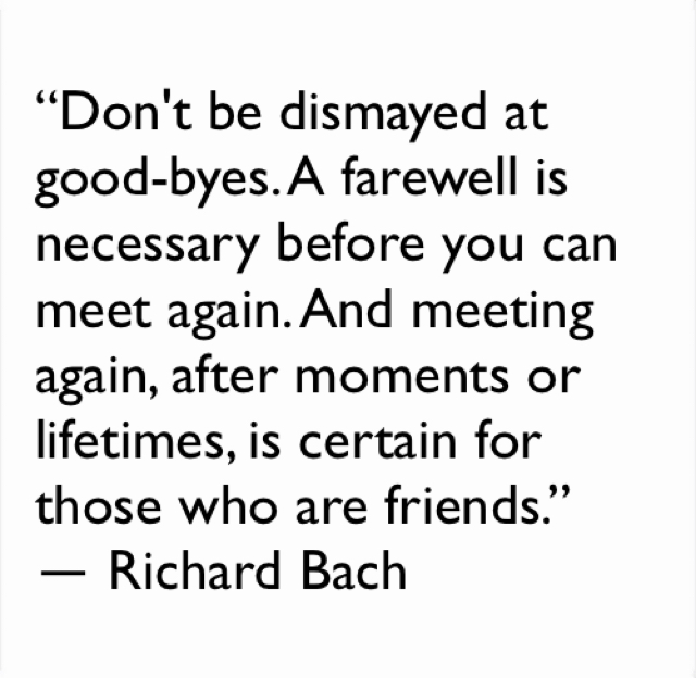 """""""Don't be dismayed at good-byes. A farewell is necessary before you can meet again. And meeting again, after moments or lifetimes, is certain for those who are friends.""""  ― Richard Bach"""