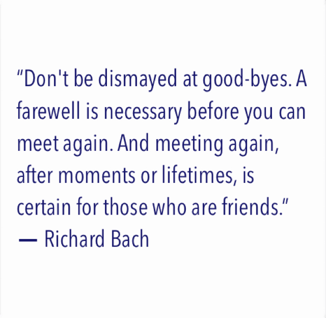 """Don't be dismayed at good-byes. A farewell is necessary before you can meet again. And meeting again, after moments or lifetimes, is certain for those who are friends.""  ― Richard Bach"