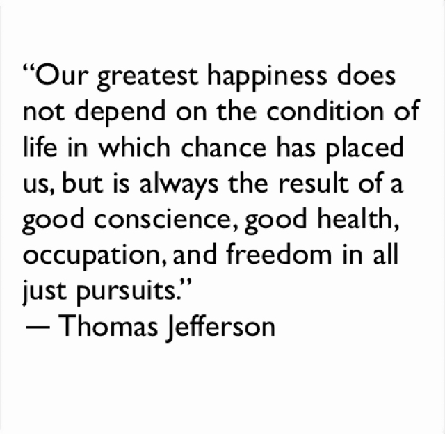 """""""Our greatest happiness does not depend on the condition of life in which chance has placed us, but is always the result of a good conscience, good health, occupation, and freedom in all just pursuits."""" ― Thomas Jefferson"""