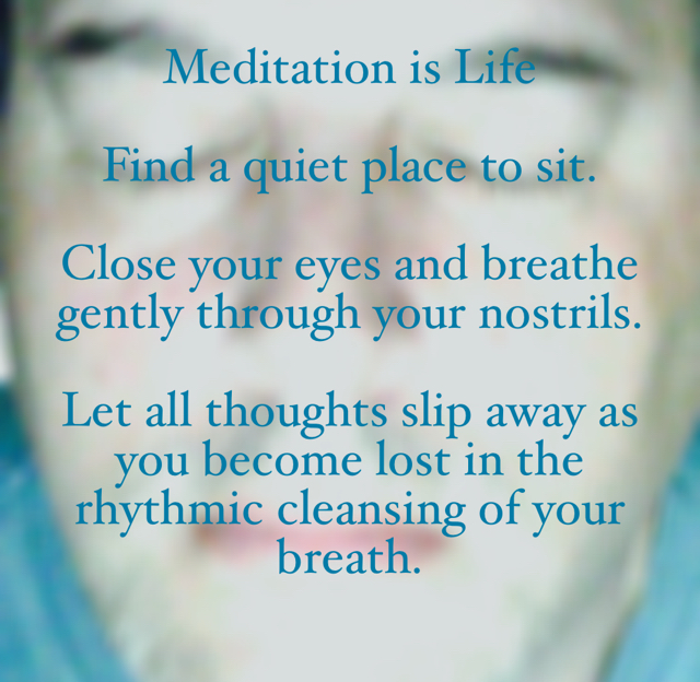 Meditation is Life Find a quiet place to sit. Close your eyes and breathe gently through your nostrils.  Let all thoughts slip away as you become lost in the rhythmic cleansing of your breath.