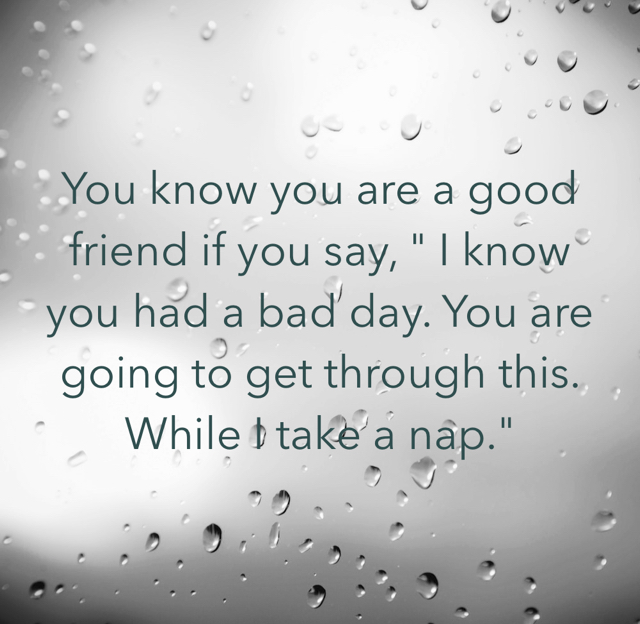 "You know you are a good friend if you say, "" I know you had a bad day. You are going to get through this. While I take a nap."""