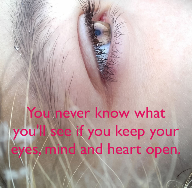 You never know what you'll see if you keep your eyes, mind and heart open.