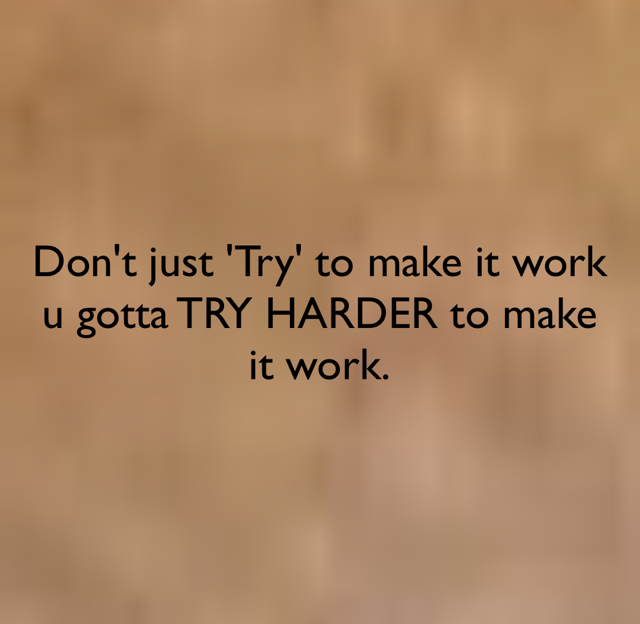 Don't just 'Try' to make it work u gotta TRY HARDER to make it work.