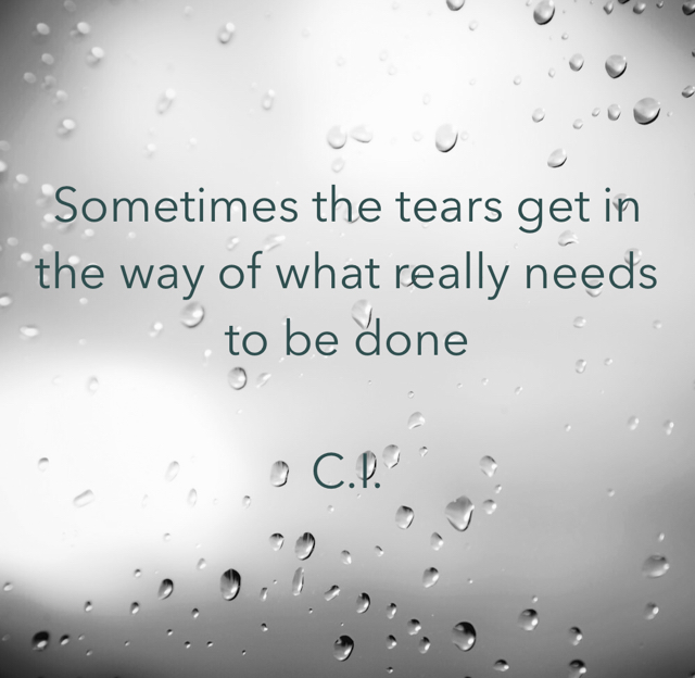 Sometimes the tears get in the way of what really needs to be done C.I.