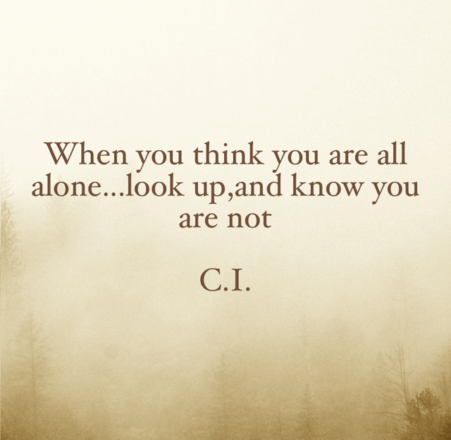 When you think you are all alone...look up,and know you are not C.I.