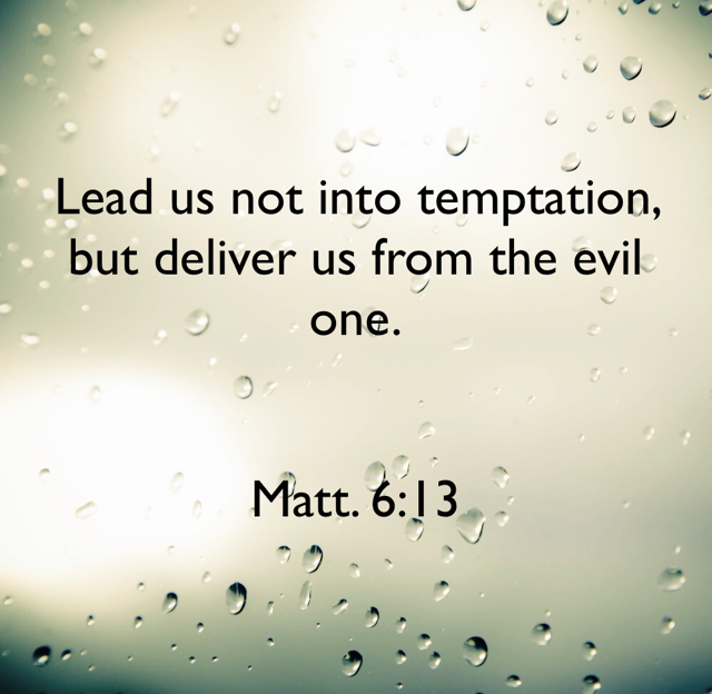 Lead us not into temptation, but deliver us from the evil one. Matt. 6:13
