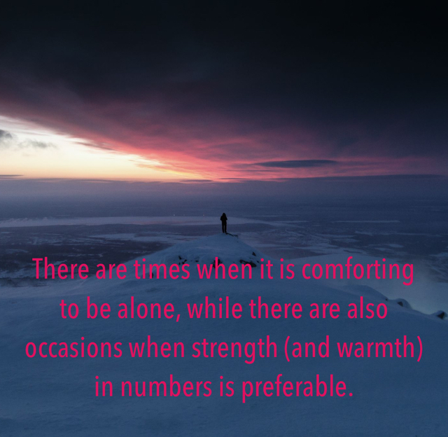 There are times when it is comforting to be alone, while there are also occasions when strength (and warmth) in numbers is preferable.