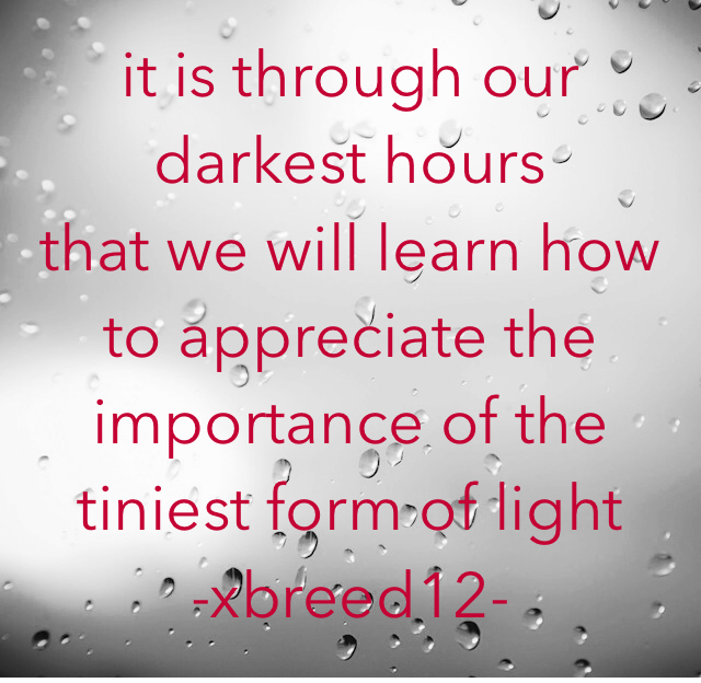 it is through our darkest hours  that we will learn how to appreciate the importance of the tiniest form of light     -xbreed12-
