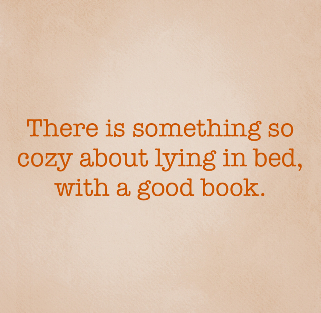 There is something so cozy about lying in bed, with a good book.