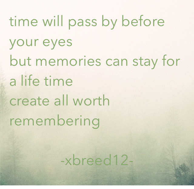 time will pass by before your eyes but memories can stay for a life time  create all worth remembering -xbreed12-