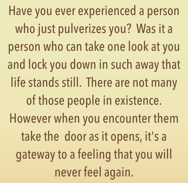 Have you ever experienced a person who just pulverizes you?  Was it a person who can take one look at you and lock you down in such away that life stands still.  There are not many of those people in existence.  However when you encounter them take the  door as it opens, it's a gateway to a feeling that you will never feel again.