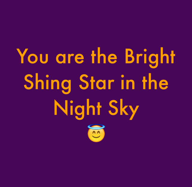 You are the Bright Shing Star in the Night Sky 😇