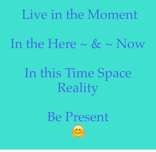 Live in the Moment  In the Here ~ & ~ Now  In this Time Space Reality Be Present  🤗