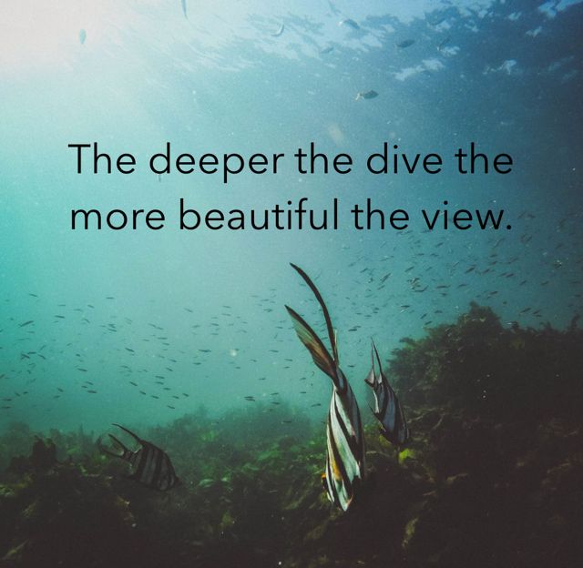 The deeper the dive the more beautiful the view.