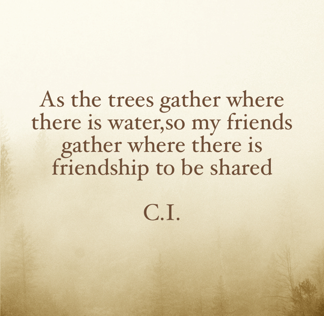 As the trees gather where there is water,so my friends gather where there is friendship to be shared C.I.