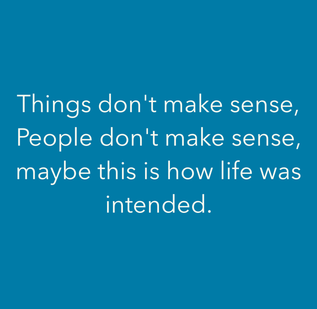 Things don't make sense, People don't make sense, maybe this is how life was intended.