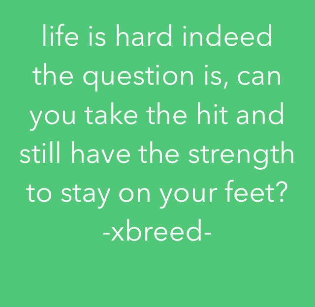 life is hard indeed the question is, can you take the hit and still have the strength to stay on your feet? -xbreed-